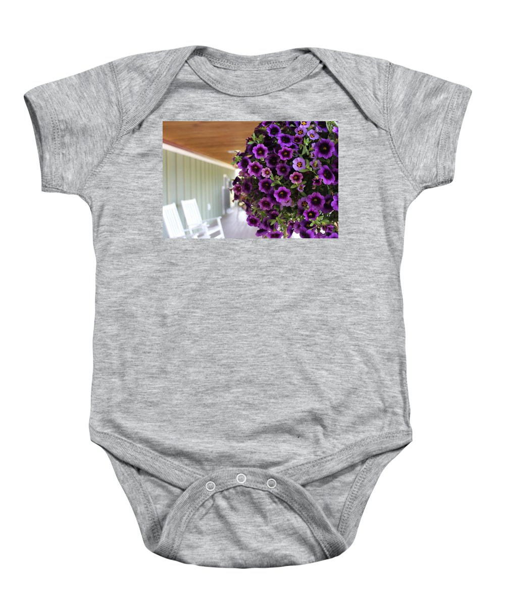Flowers Baby Onesie featuring the photograph Floral Porch Sitting by Brittany Galipeau