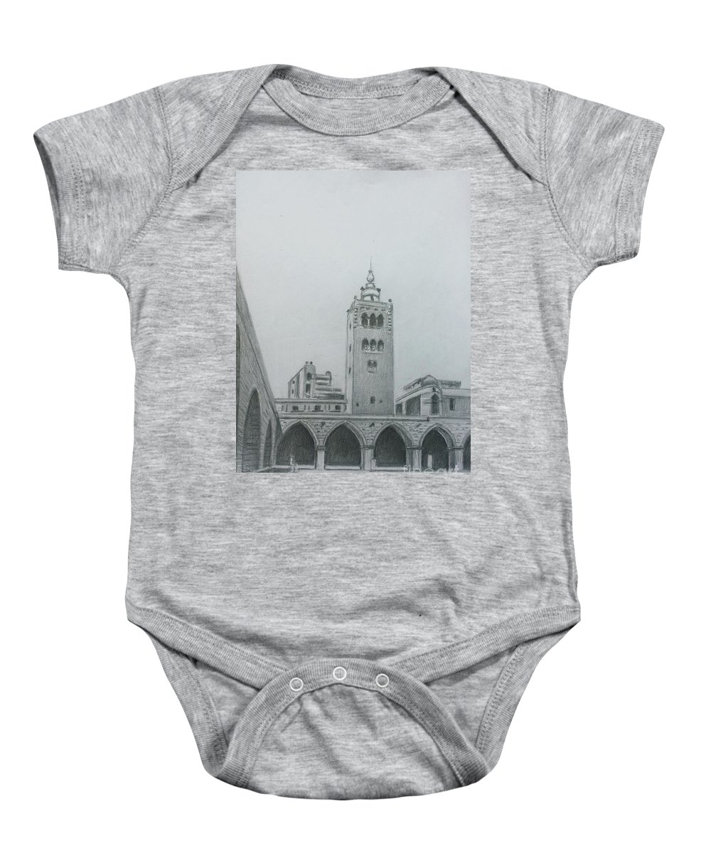 Tripoli Baby Onesie featuring the drawing Great Mosque Minaret- Tripoli by Mohammad Hayssam Kattaa