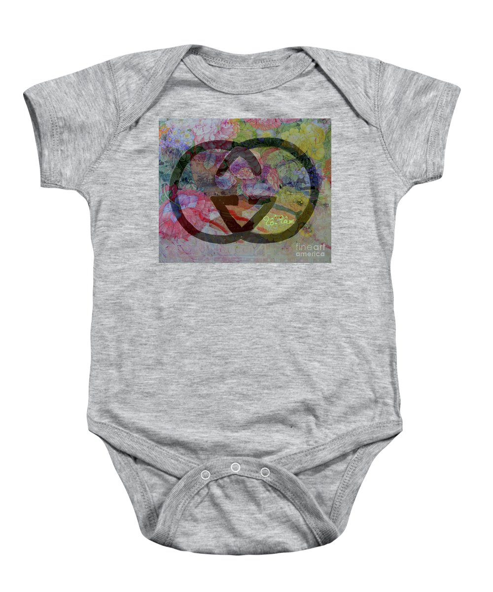Gucci Baby Onesie featuring the mixed media Gucci Logo With Peony by To-Tam Gerwe