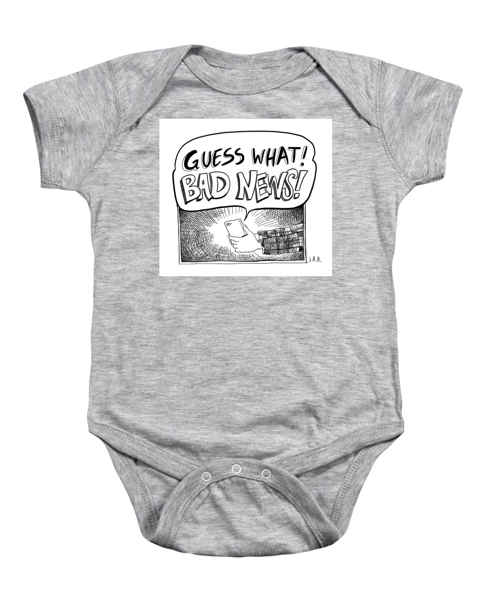 Captionless Baby Onesie featuring the drawing Guess What by Jason Adam Katzenstein
