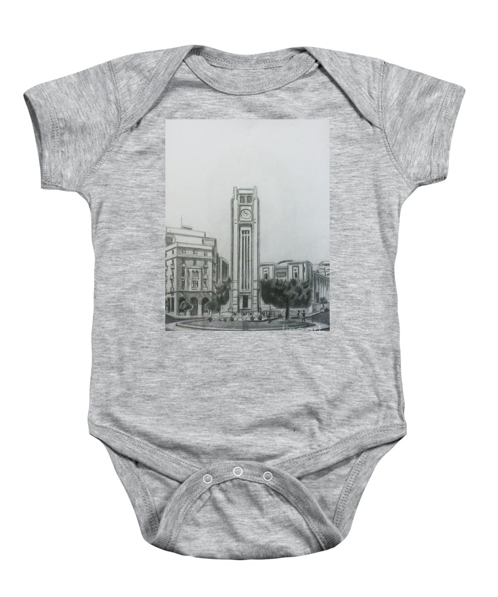 Star Square Baby Onesie featuring the drawing Hamedieh Clock Tower - Beirut by Mohammad Hayssam Kattaa