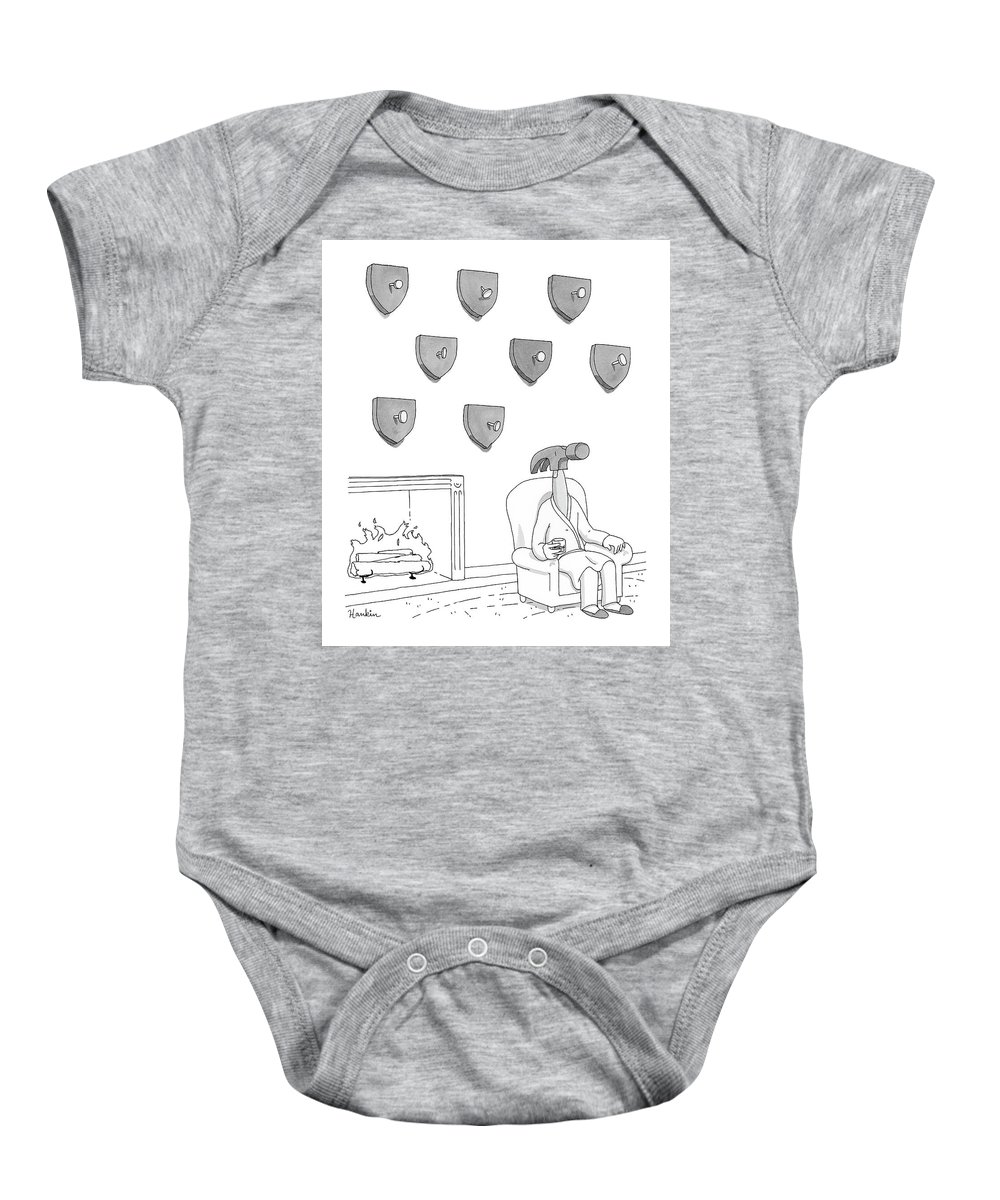 Captionless Baby Onesie featuring the drawing Hammer and Nails by Charlie Hankin