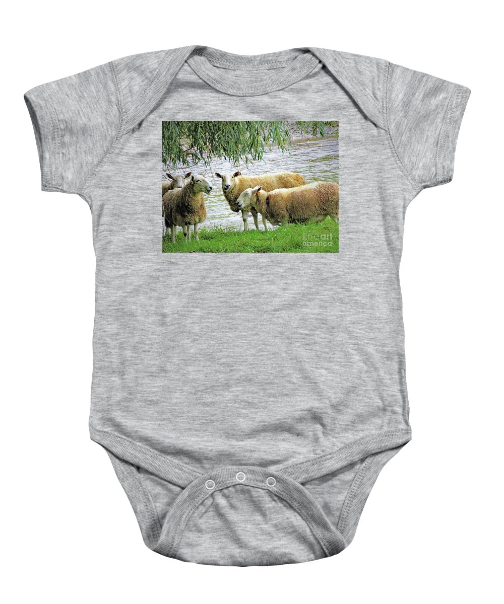 Flock Of Sheep Riverbank Willow Trees West Pawlet Vermont Scenic Baby Onesie featuring the photograph He Said She Said by Karen Velsor