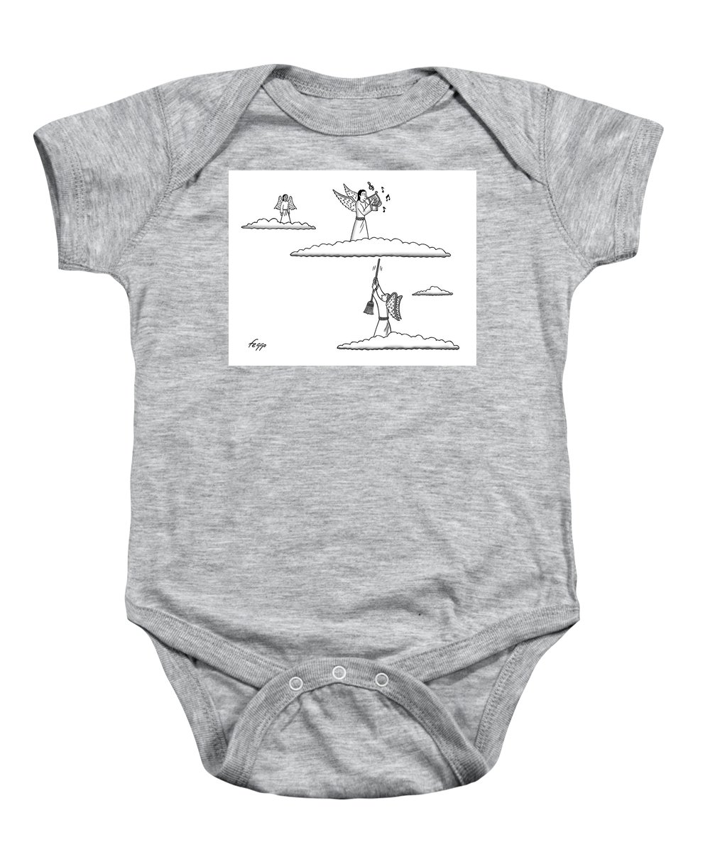 Captionless Baby Onesie featuring the drawing Heavenly Music by Felipe Galindo
