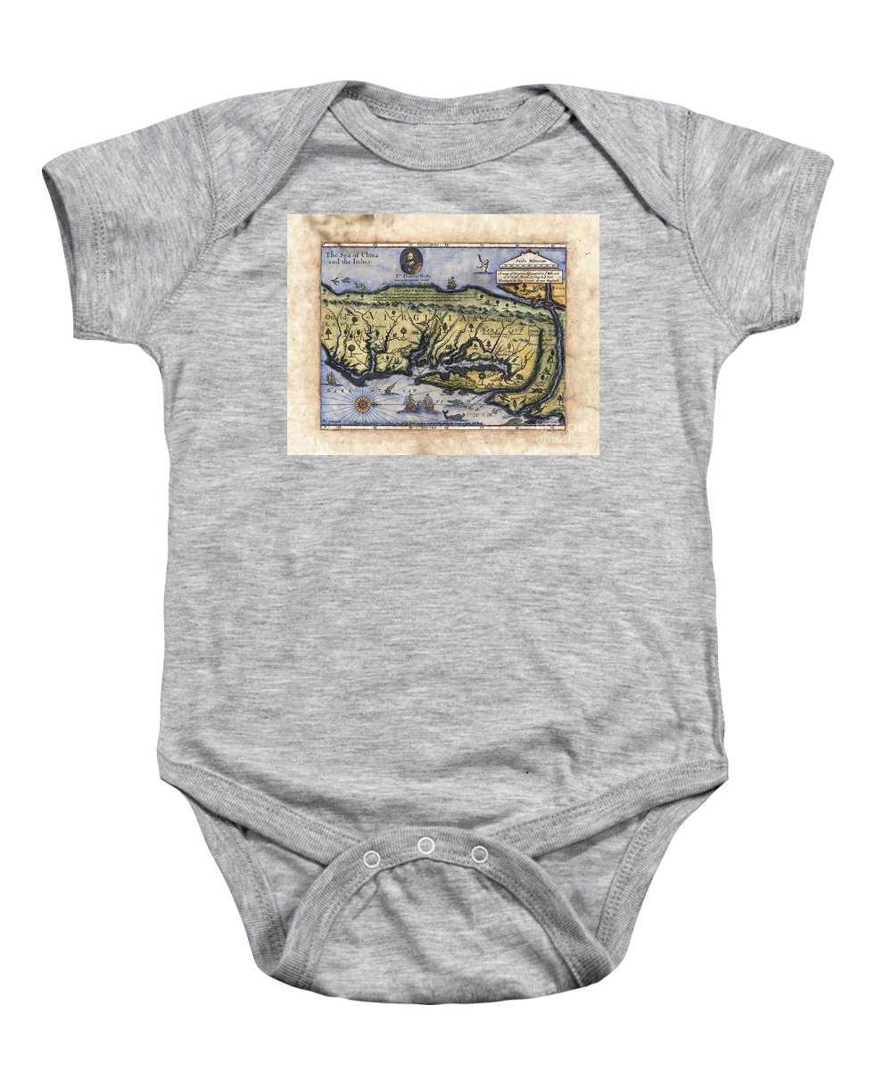 Historical Map Baby Onesie featuring the painting Historical Map Hand Painted Drake Virginia by Lisa Middleton