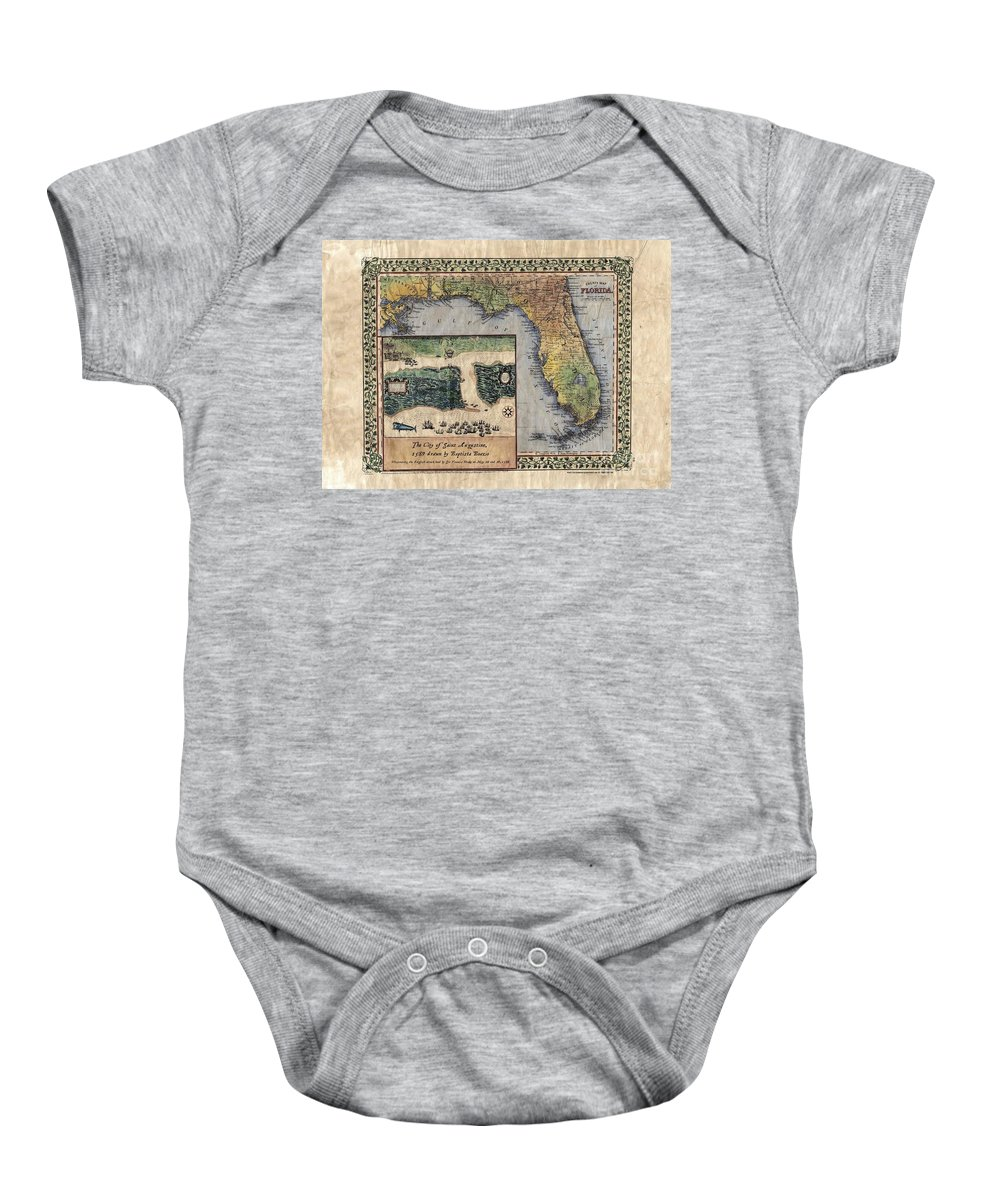 Historical Map Baby Onesie featuring the painting Historical Map Hand Painted St. Augustine by Lisa Middleton