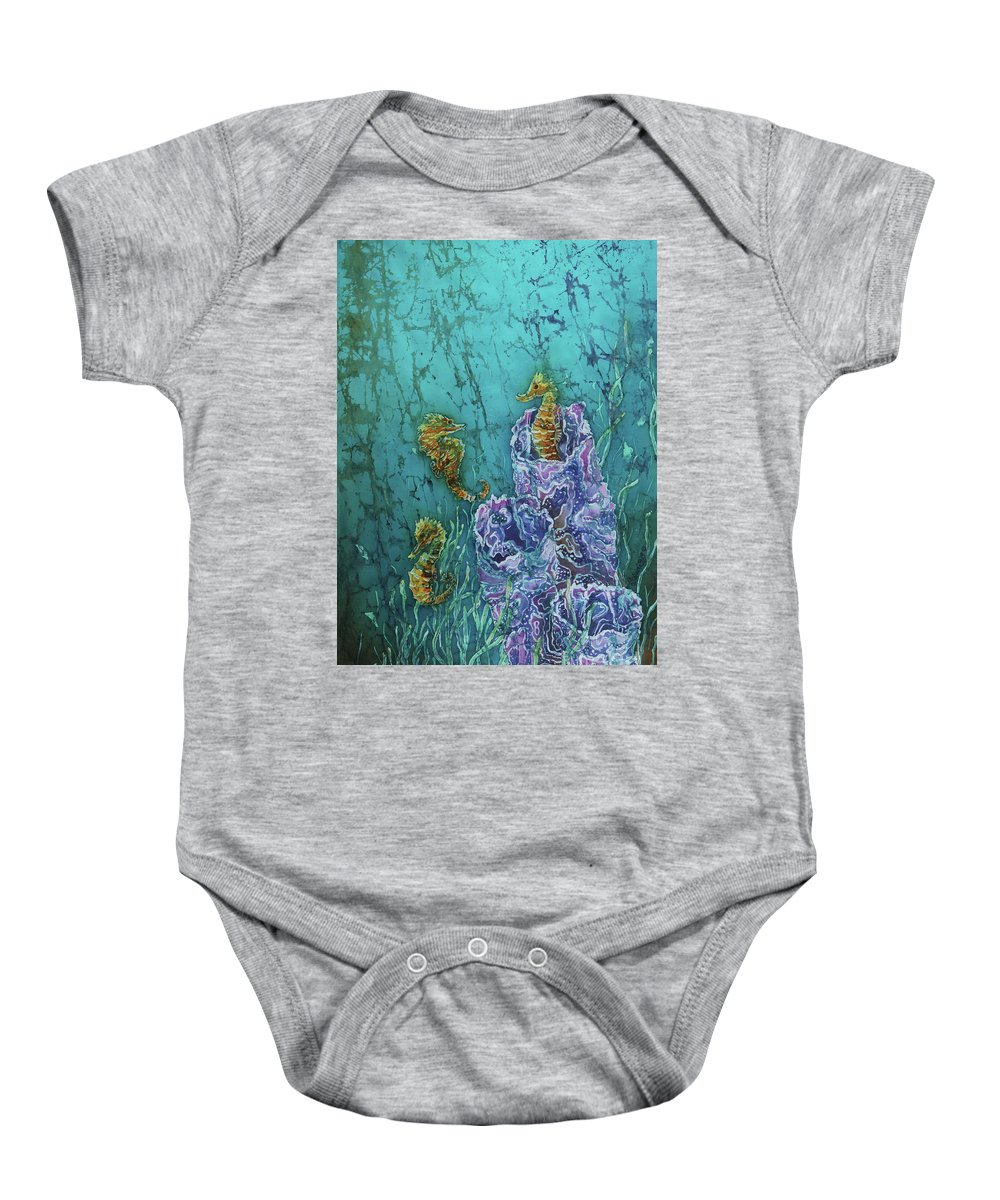 Seahorses Baby Onesie featuring the tapestry - textile Horsin Around by Sue Duda
