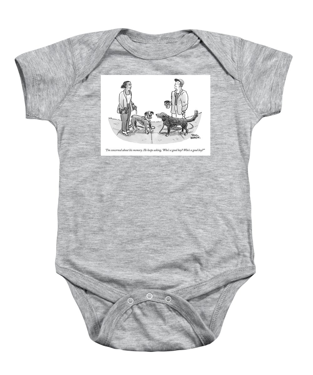 """""""i'm Concerned About His Memory. He Keeps Asking Baby Onesie featuring the drawing I'm Concerned About His Memory by Paul Karasik"""