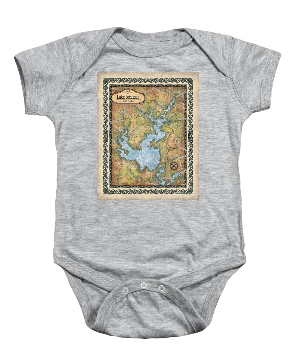 Jocossee Lake Map Baby Onesie featuring the painting Jocossee Lake Map Custom Lake House Art by Lisa Middleton