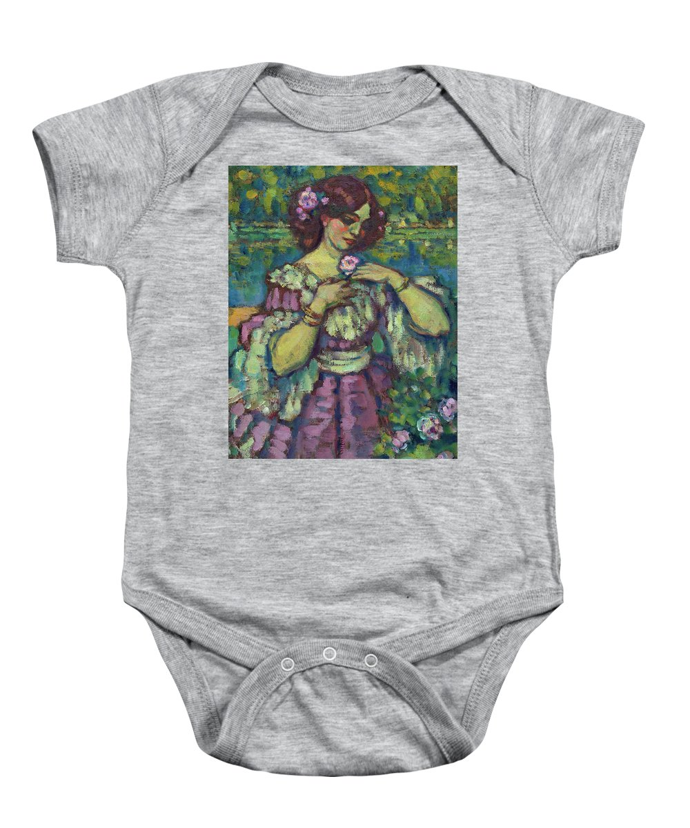 Charles-franois-prosper Guerin Baby Onesie featuring the painting Lady With A Rose, 1901 by Charles-Franois-Prosper Guerin