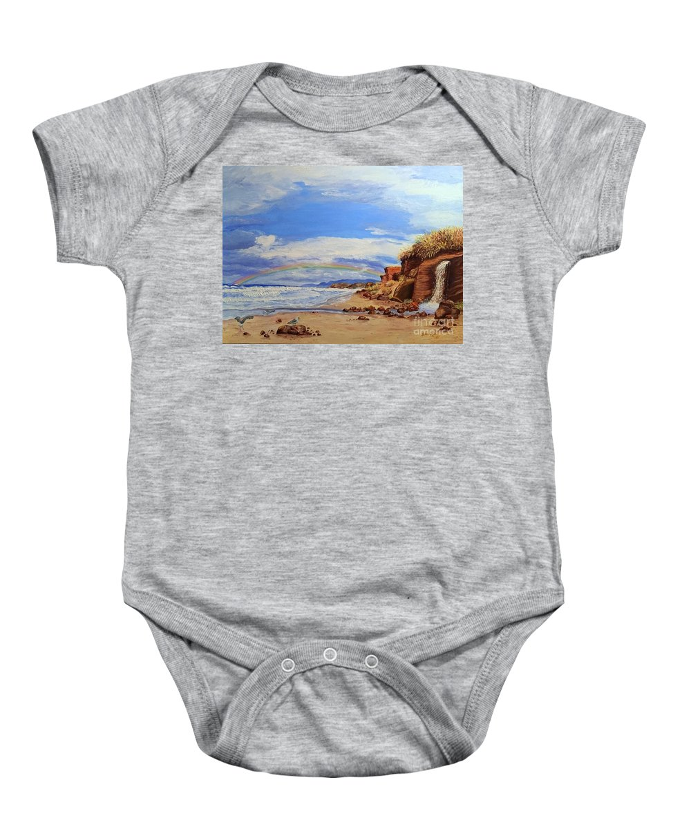 Lincoln City Baby Onesie featuring the painting Laurens Lincoln City by Lisa Rose Musselwhite