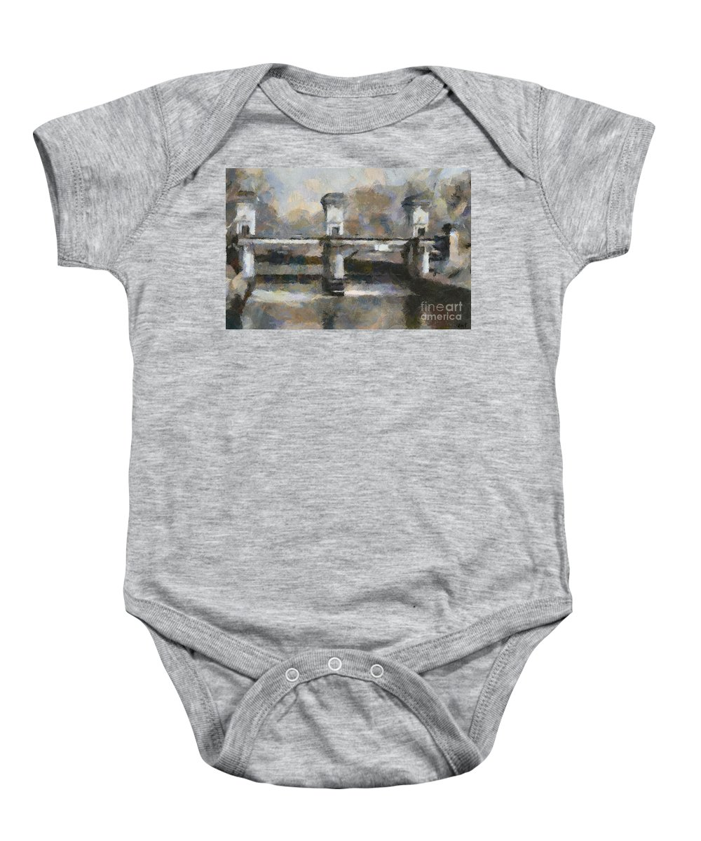 Painting Baby Onesie featuring the painting Ljubljana River Barrier by Dragica Micki Fortuna