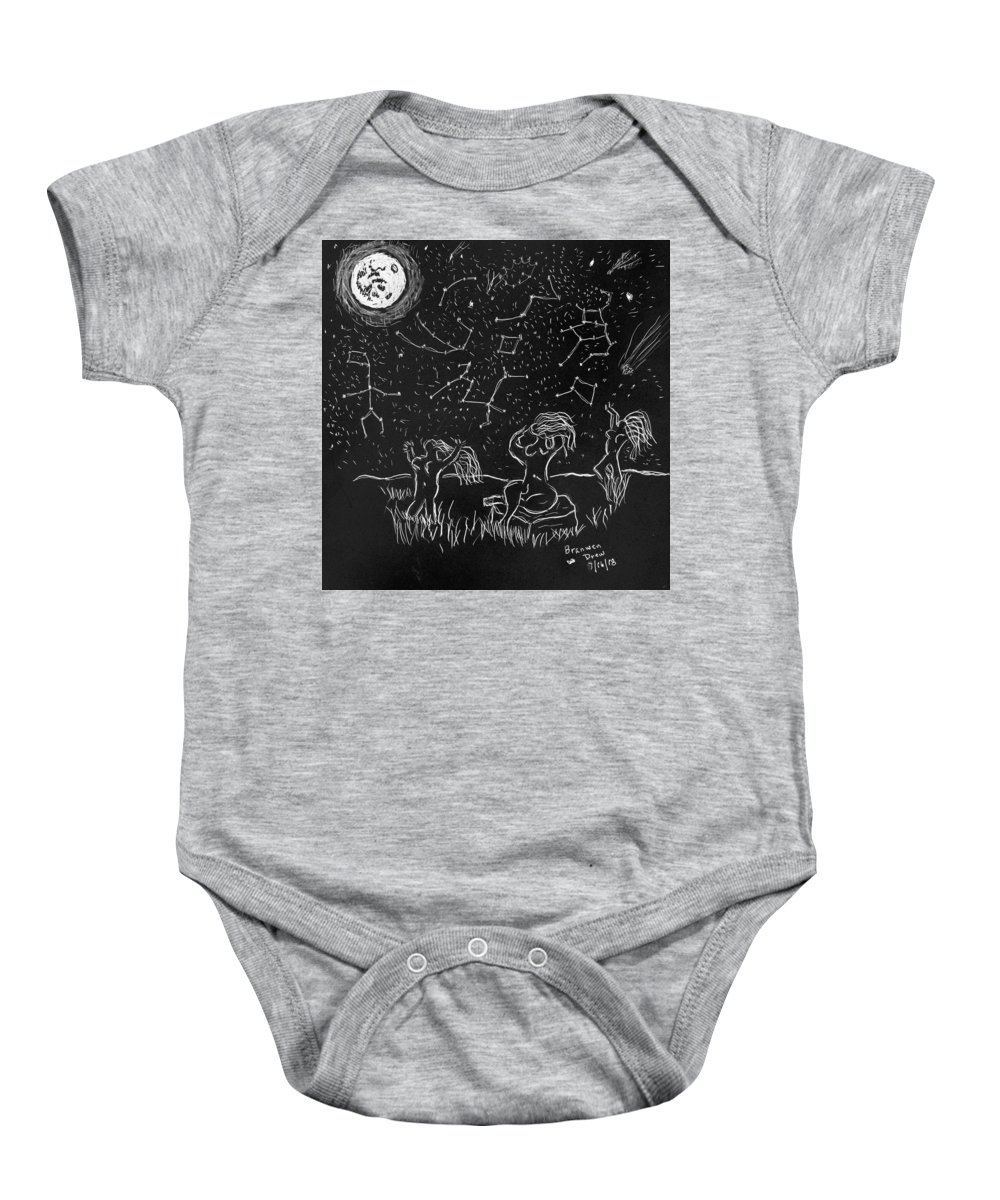 Moon Baby Onesie featuring the drawing Maidens Of The Eath And Sky by Branwen Drew