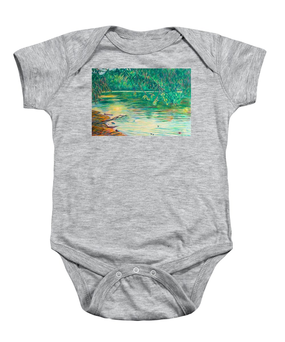 Landscape Baby Onesie featuring the painting Mid-Spring on the New River by Kendall Kessler