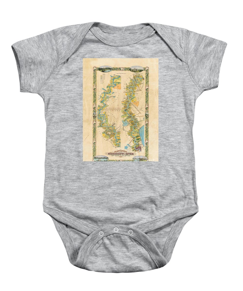 Mississippi River Baby Onesie featuring the painting Mississippi River Historic Map Lousiana New Orleans Baton Rouge Map Farming Plantation Hand Painted by Lisa Middleton
