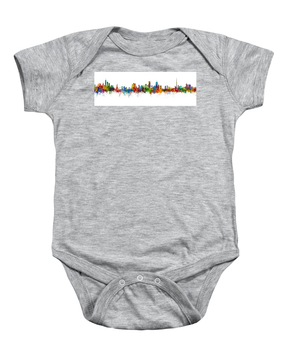 Toronto Baby Onesie featuring the digital art New York, Boston, Toronto Skylines Mashup by Michael Tompsett