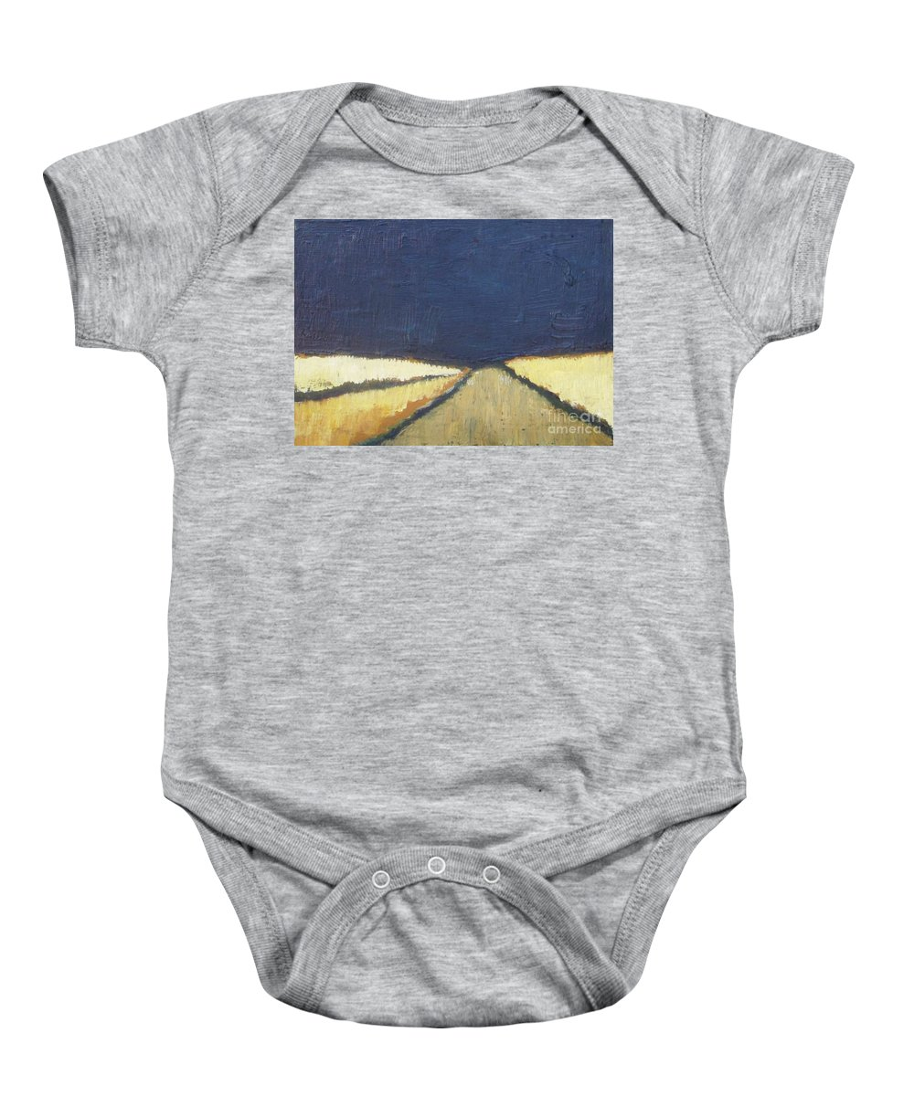 Abstract Baby Onesie featuring the painting October Night Fields by Vesna Antic