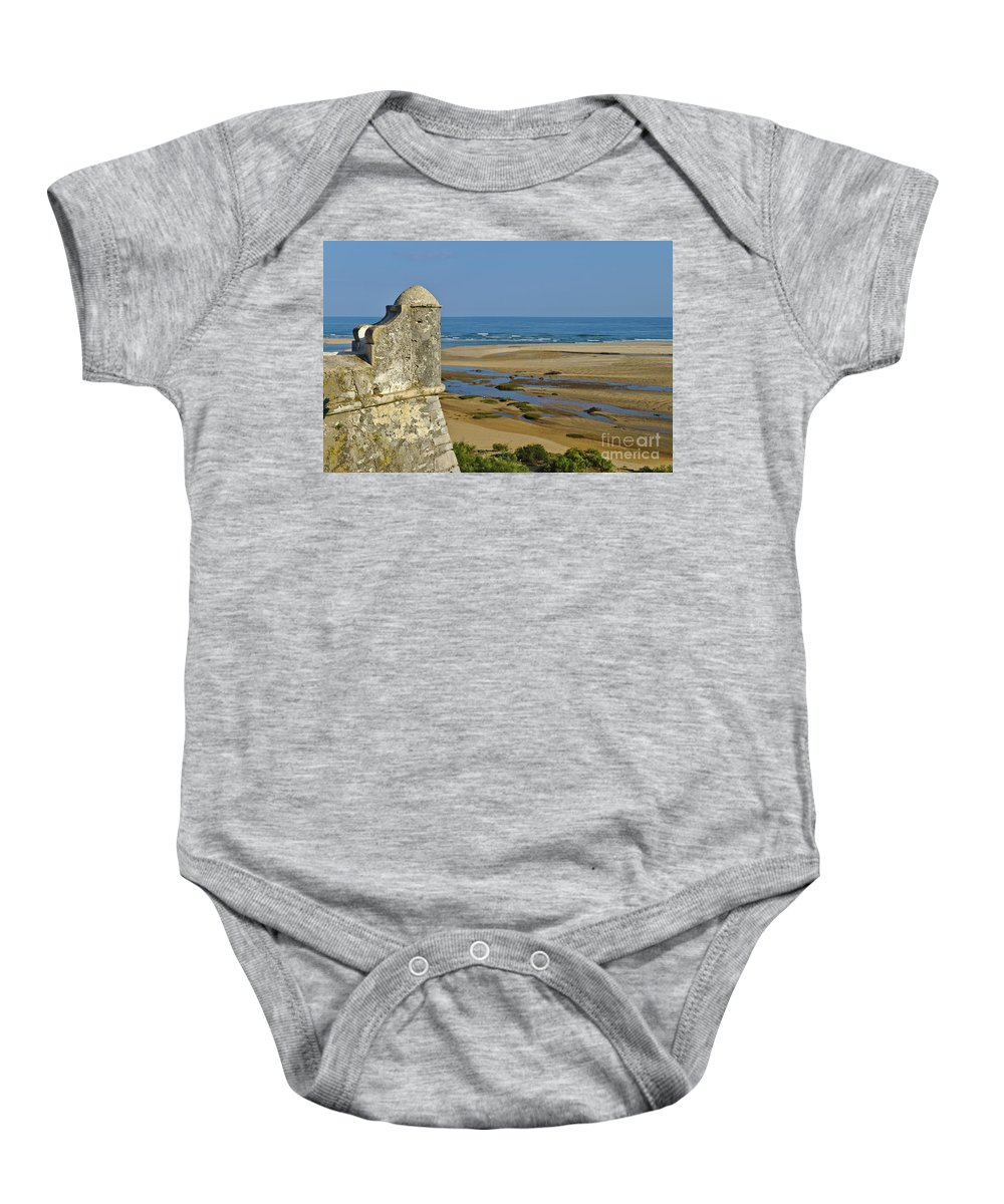 Old Baby Onesie featuring the photograph Old Fortress Guarding Tower In Portugal by Angelo DeVal