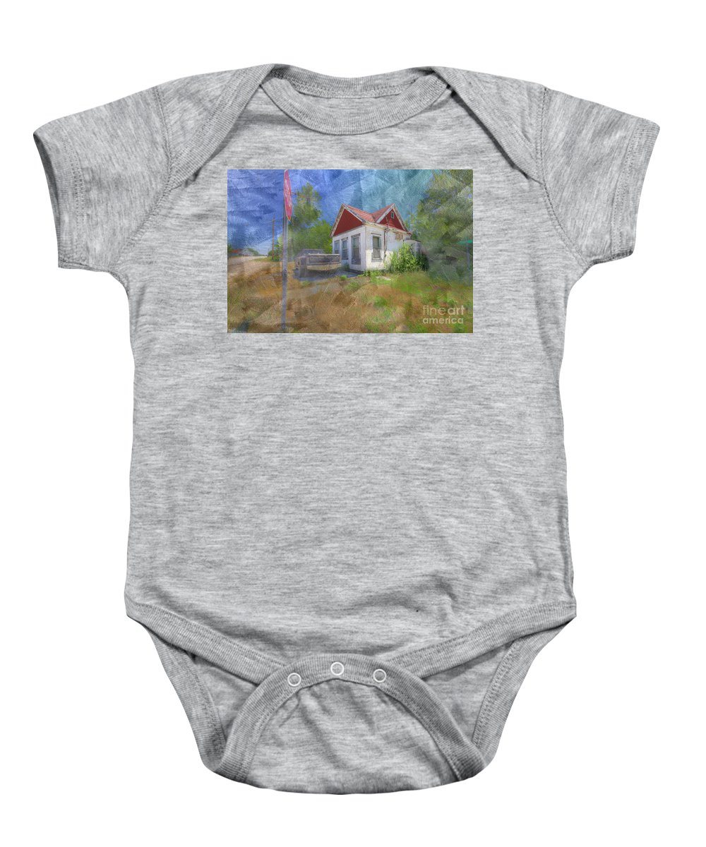 Photography Baby Onesie featuring the digital art Old Gas Station by Larry Braun