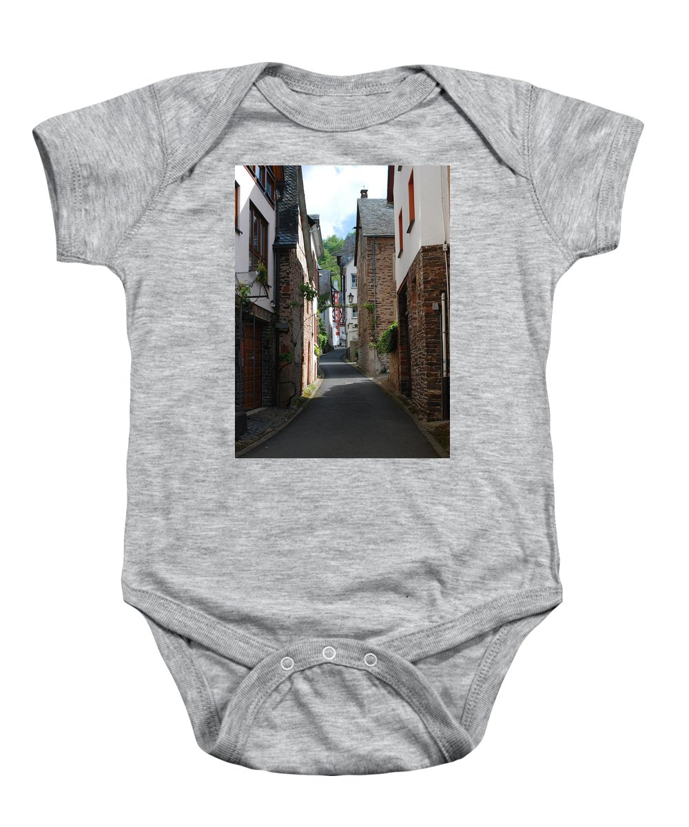Lane Baby Onesie featuring the photograph old historic street in Ediger Germany by Victor Lord Denovan