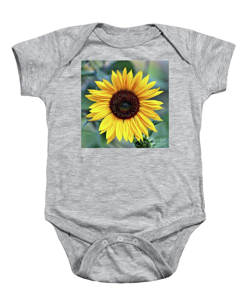 Sunflower Baby Onesie featuring the photograph One Bright Sunflower by Carol Groenen