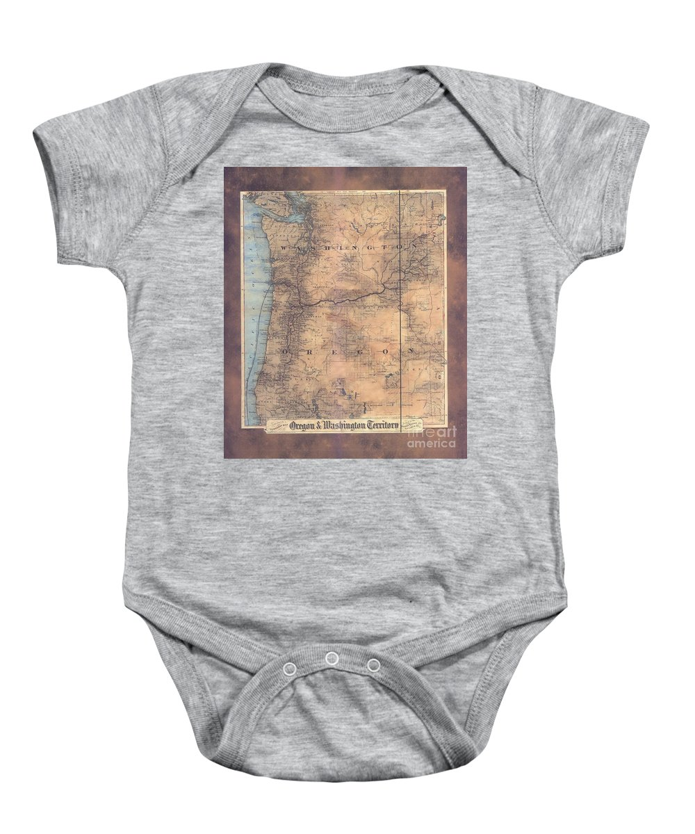 Oregon Baby Onesie featuring the painting Oregon Washington Historic Map Colton Sepia Map Hand Painted by Lisa Middleton