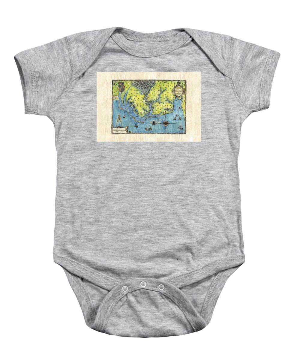 Outer Banks Baby Onesie featuring the painting Outer Banks Historic Antique Map Hand Painted by Lisa Middleton
