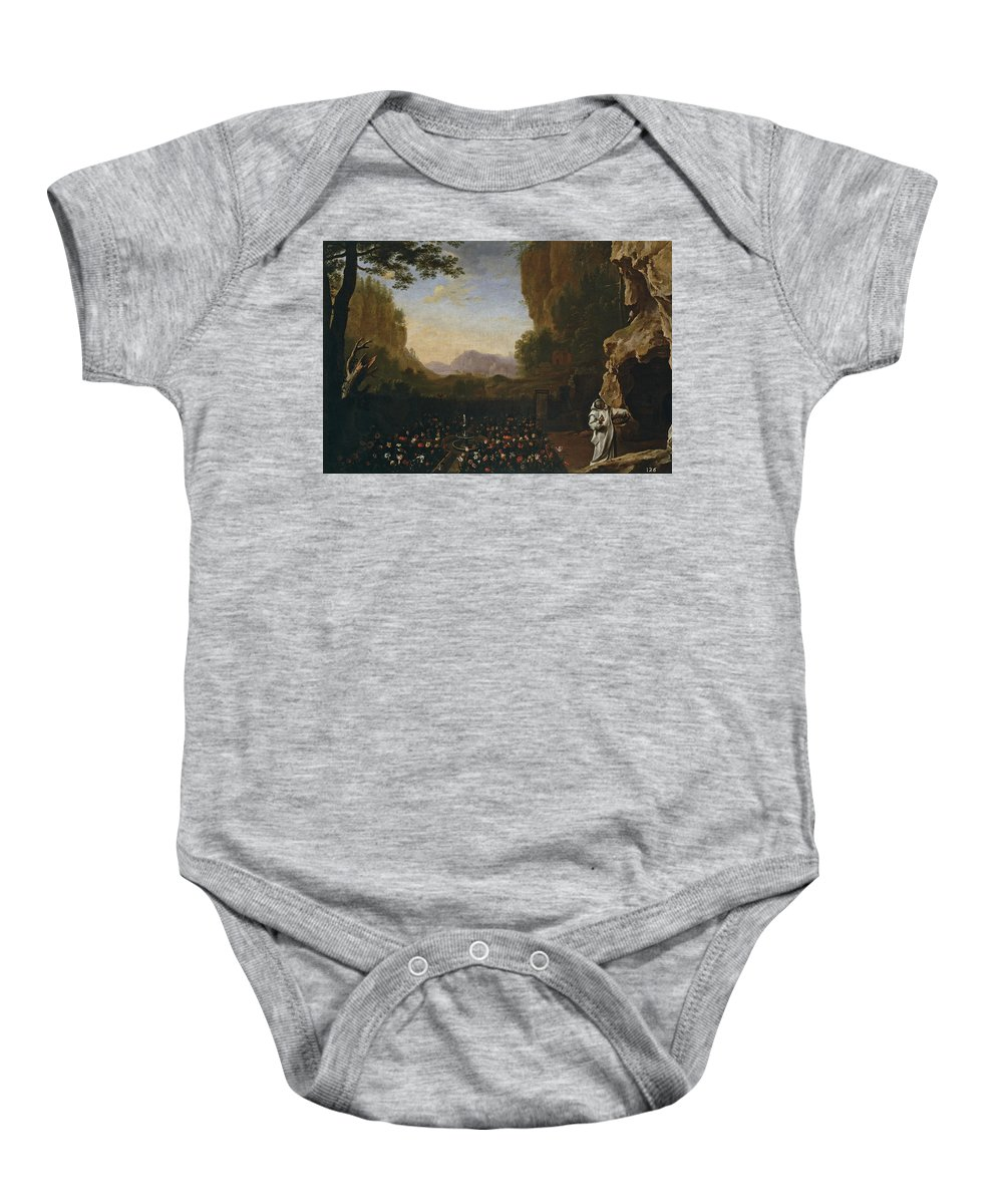 Swanevelt Herman Van Baby Onesie featuring the painting Paisaje Con San Bruno  by Swanevelt Herman van