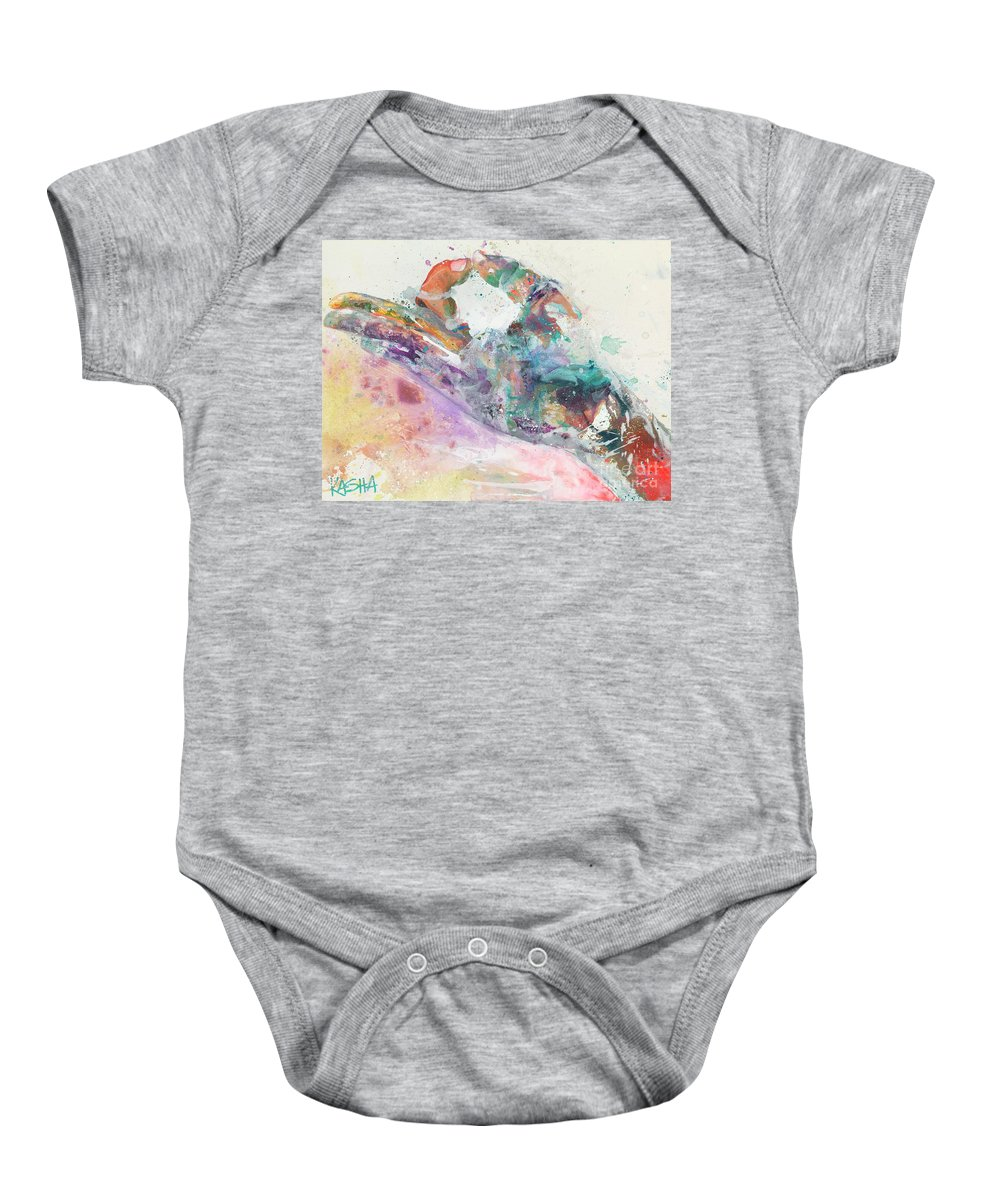 Mudra Baby Onesie featuring the painting Peace's by Kasha Ritter