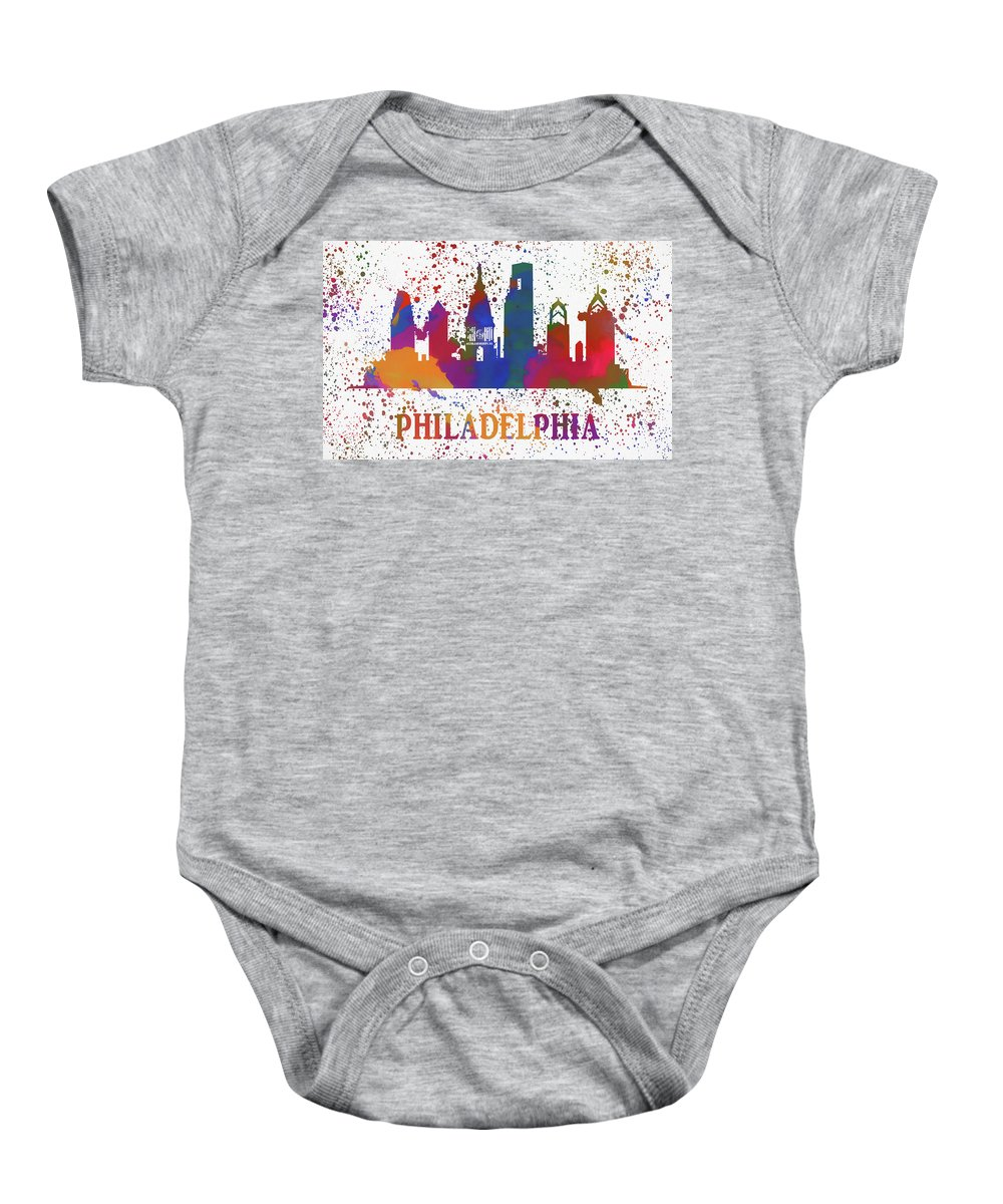 Philadelphia Colorful Skyline Baby Onesie featuring the painting Philly Color Splash by Dan Sproul