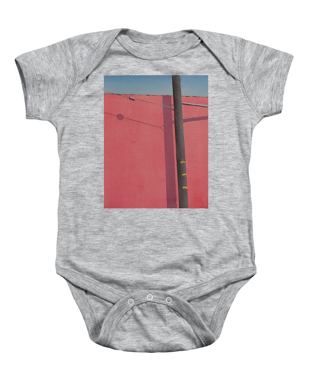 Baby Onesie featuring the painting Pink wall by Philip Fleischer