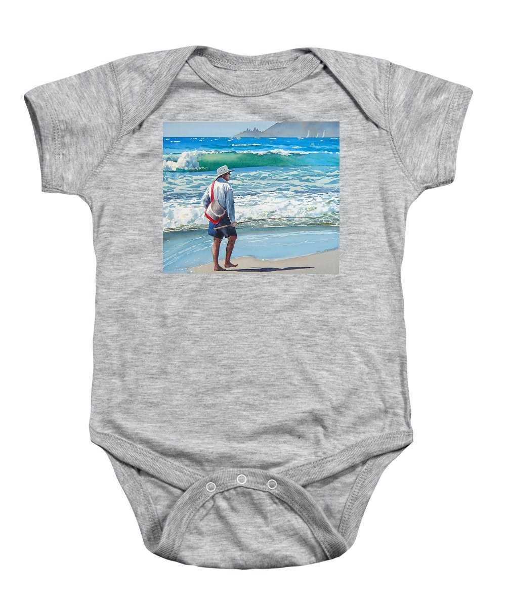 Beach.pismo Beach.ocean Baby Onesie featuring the painting Pismo Fisherman by Philip Fleischer