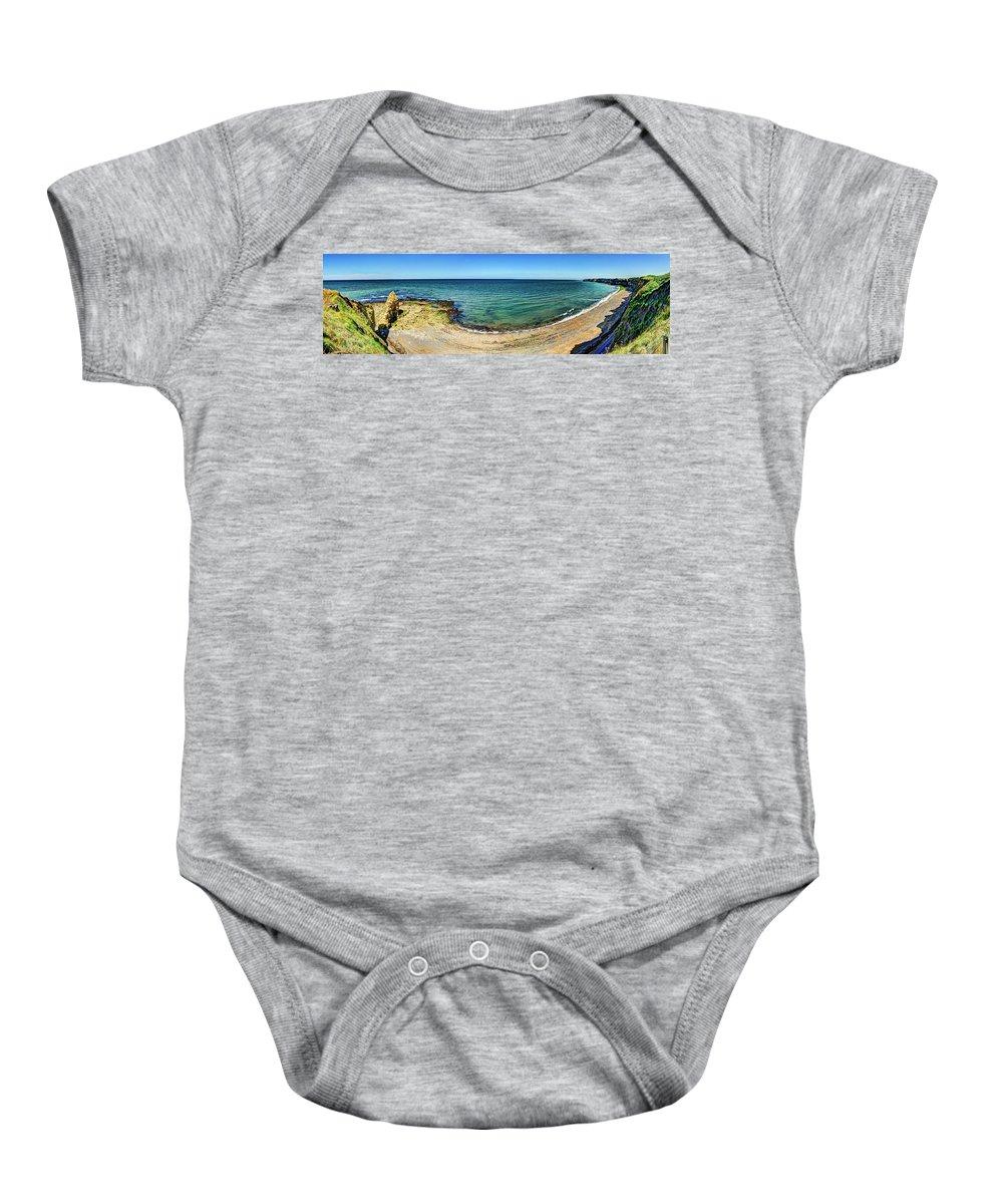 Pointe Du Hoc Baby Onesie featuring the photograph Pointe Du Hoc Panorama by Weston Westmoreland