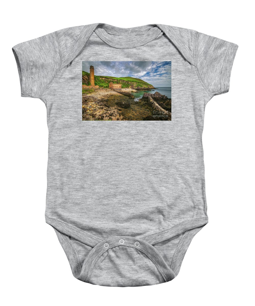 Porth Wen Baby Onesie featuring the photograph Porth Wen Brickworks Anglesey by Adrian Evans