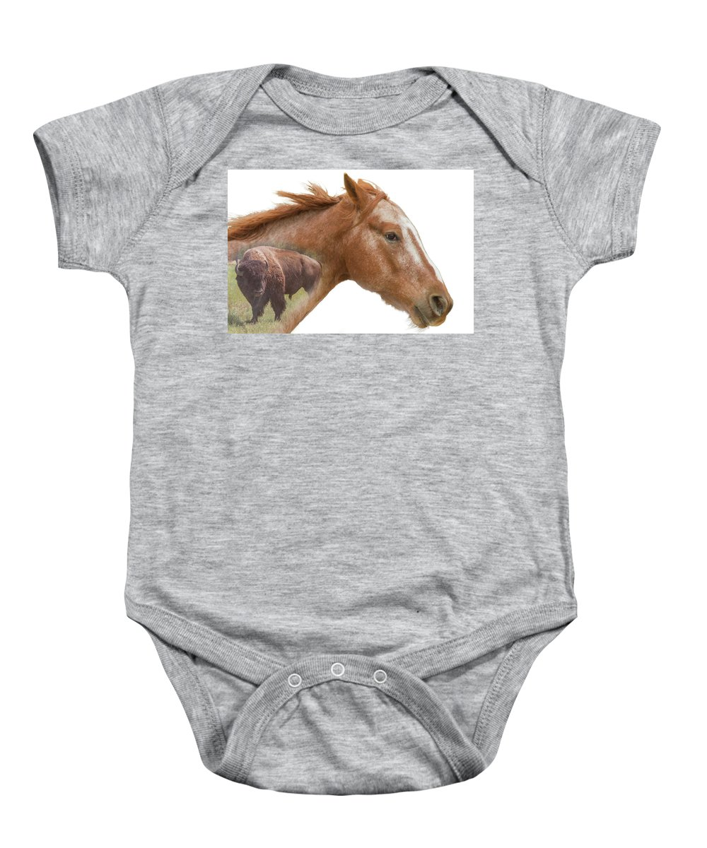 Horse Baby Onesie featuring the photograph Red Rider by Ben Zell