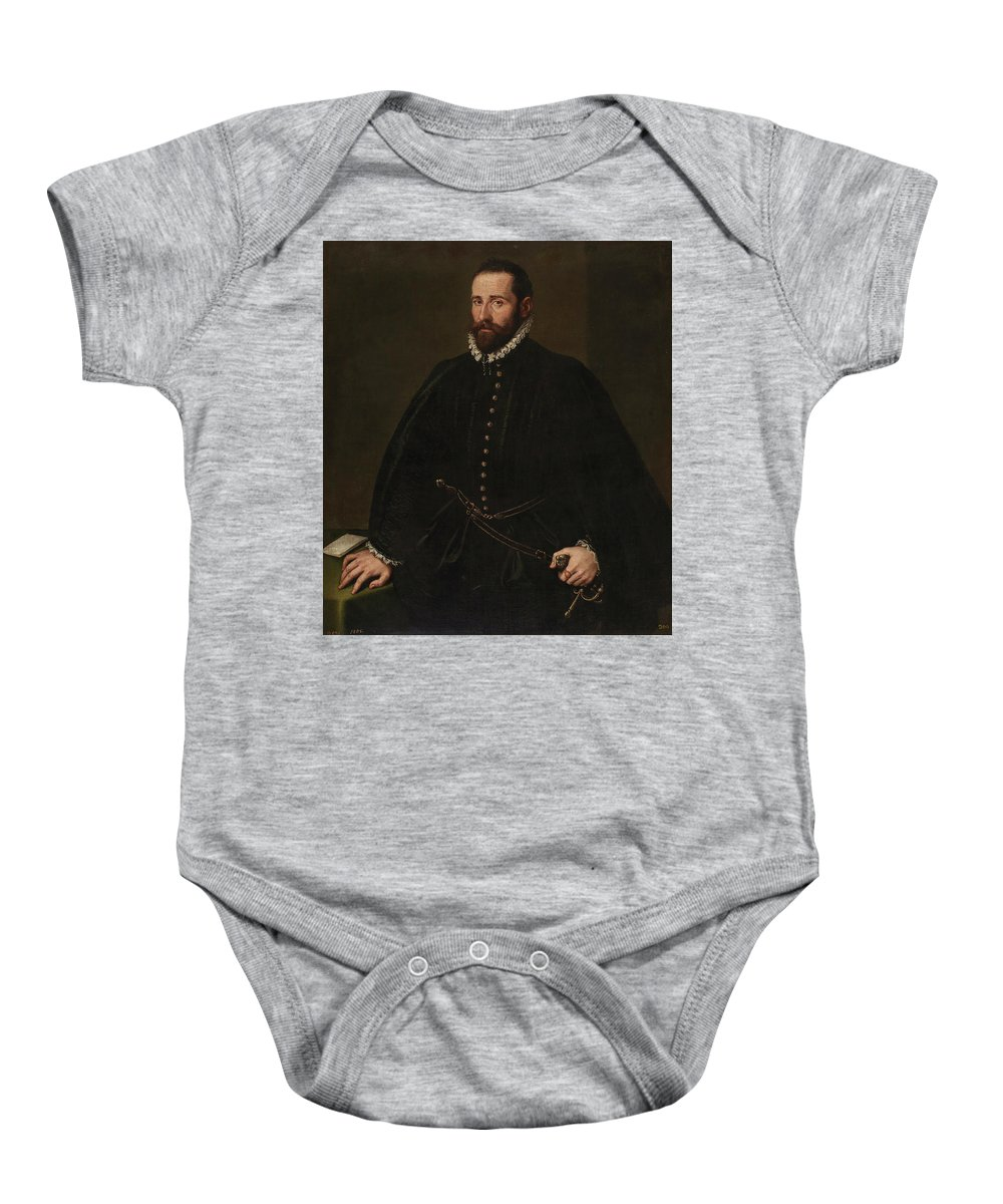 Tintoretto Jacopo Robusti Baby Onesie featuring the painting Retrato De Caballero  by Tintoretto Jacopo Robusti