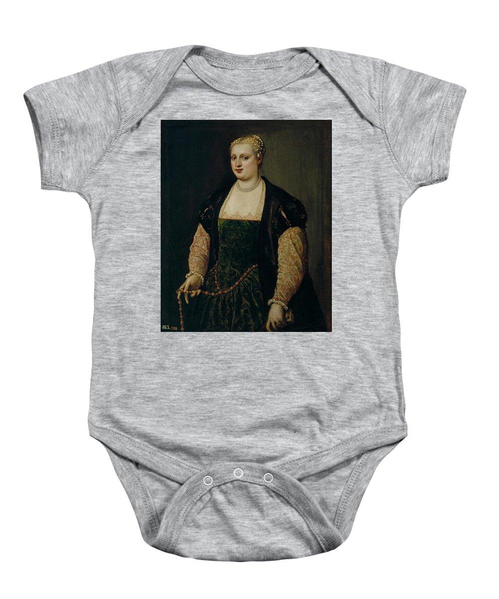 Tiziano Vecellio Di Gregorio (y Taller) Baby Onesie featuring the painting Retrato De Mujer  by Tiziano Vecellio di Gregorio y taller