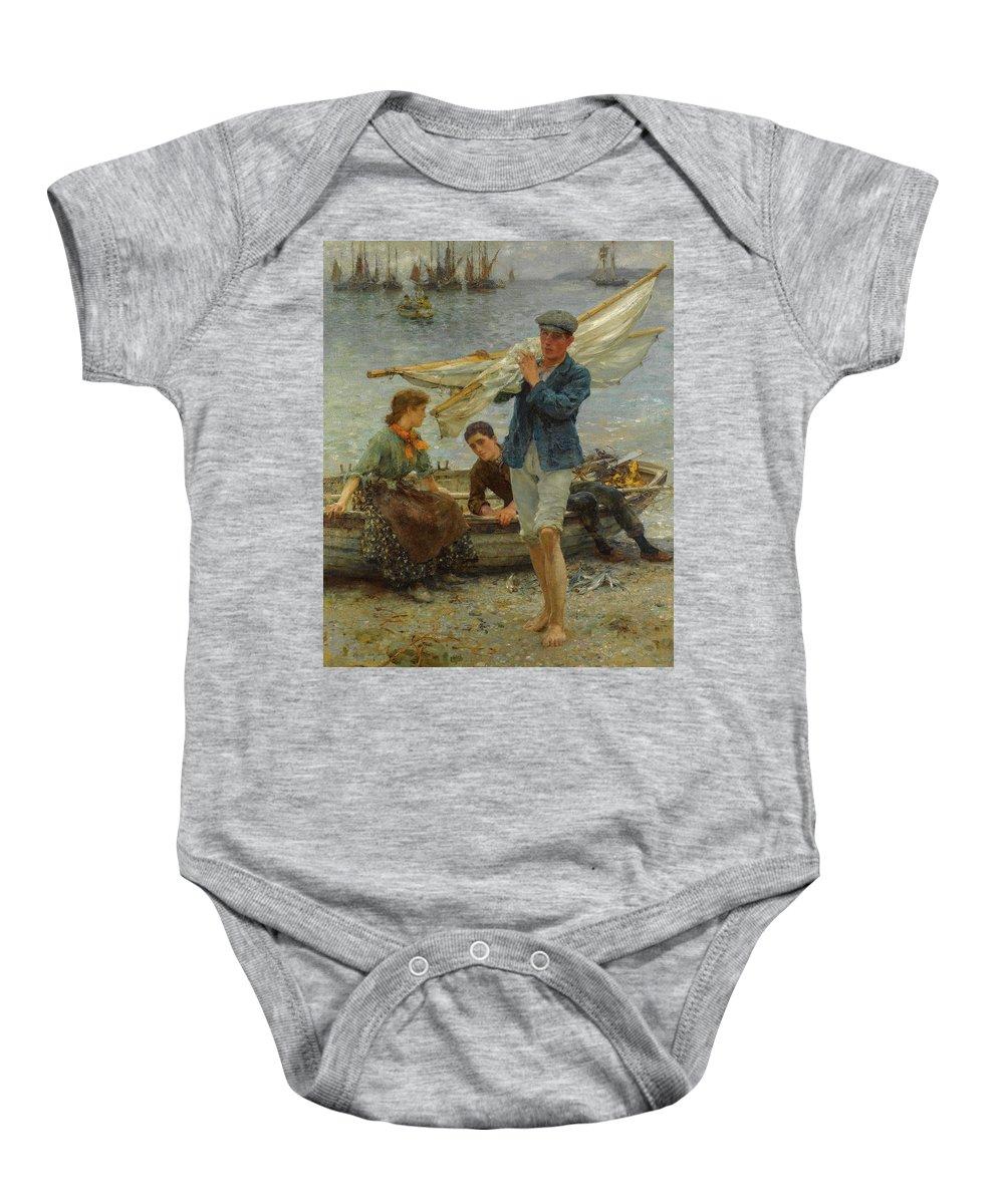 Henry Scott Tuke Baby Onesie featuring the painting Return From Fishing, 1907 by Henry Scott Tuke