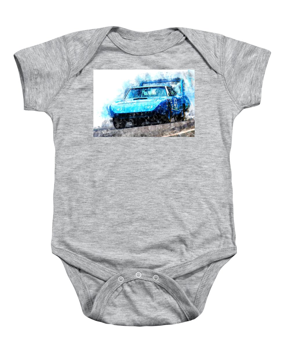 Racing Baby Onesie featuring the painting Richard Petty Superbird by Theodor Decker