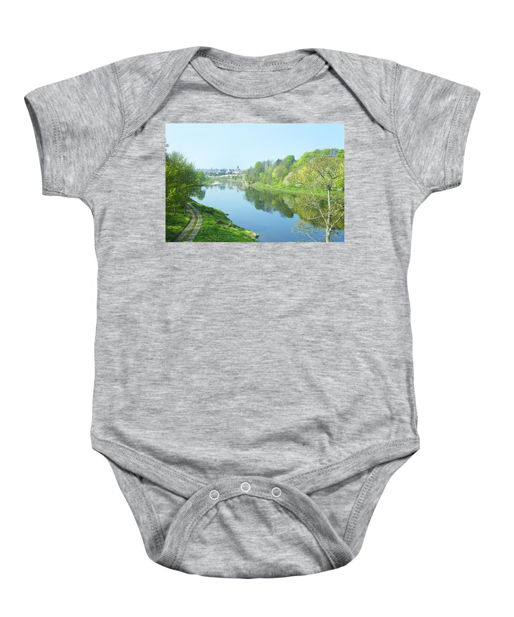 Scotland Baby Onesie featuring the photograph river tweed at Coldstream by Victor Lord Denovan