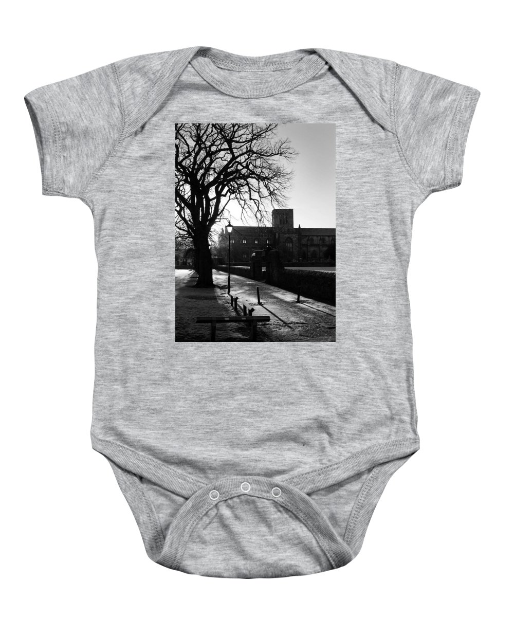 Walkway Baby Onesie featuring the photograph riverside walk in Haddington on winters morning by Victor Lord Denovan