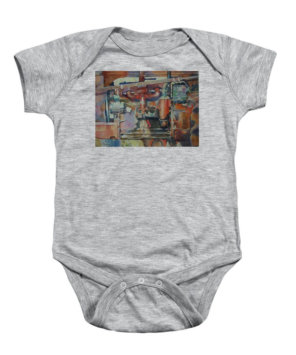 Still Life Baby Onesie featuring the painting Rusty Engine by Hwang-Nam Chang