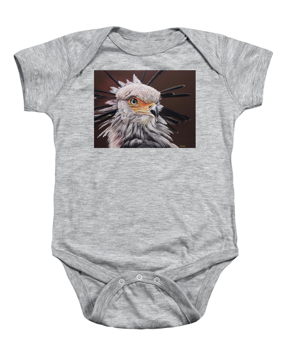 Secretary Bird Baby Onesie featuring the pastel Secretary Bird by Raymond Ore