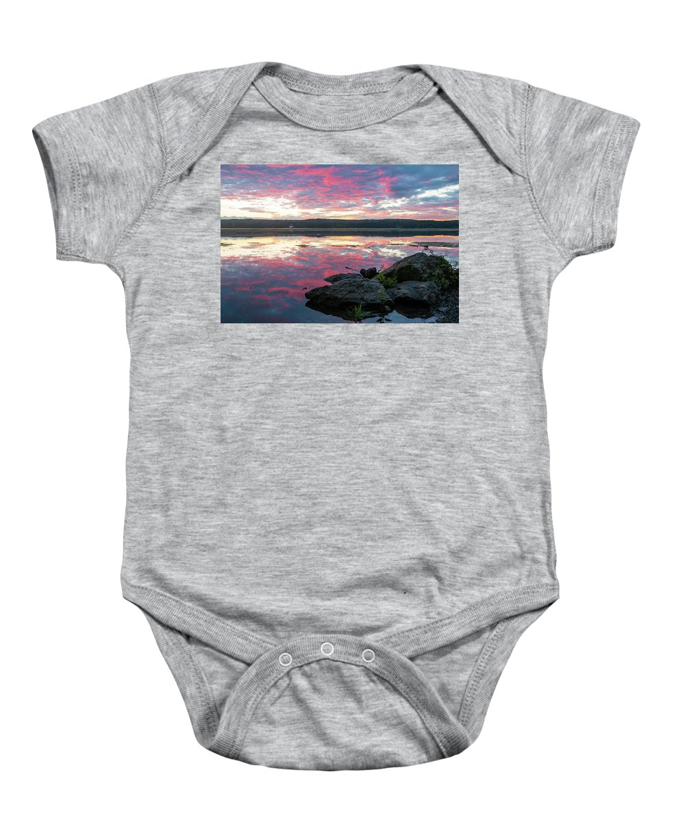 Sunrise Baby Onesie featuring the photograph September Dawn At Esopus Meadows I - 2018 by Jeff Severson