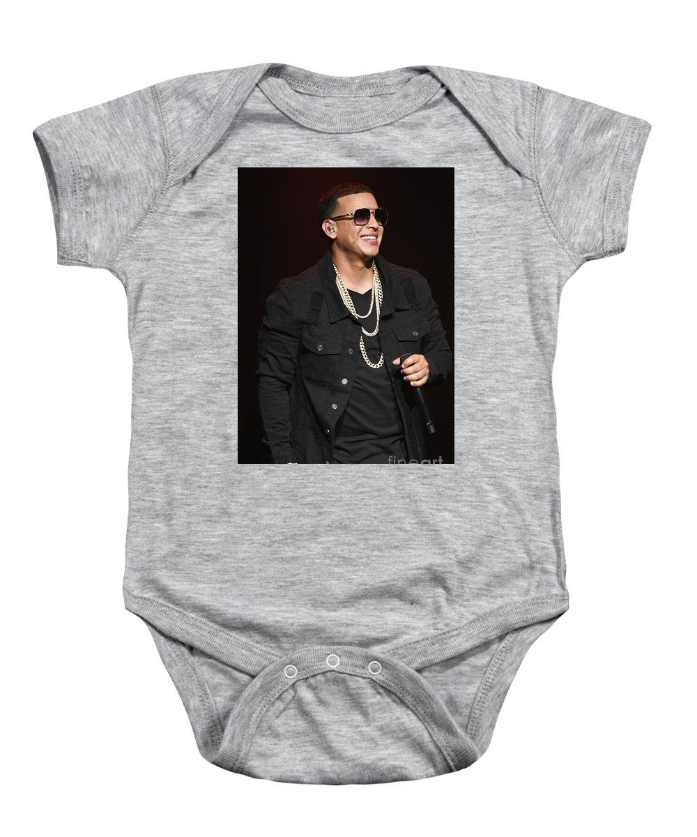 Singer Daddy_yankee Is Shown Performing During A Live Concert Appearance. Baby Onesie featuring the photograph Singer Daddy_yankee by Concert Photos