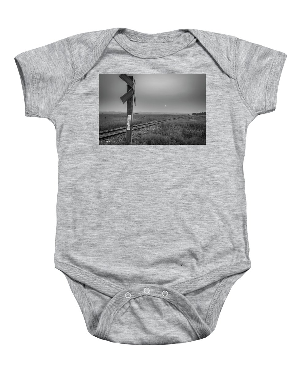 August 2018 Baby Onesie featuring the photograph Smoke Haze Over The Prairie by Philip Rispin