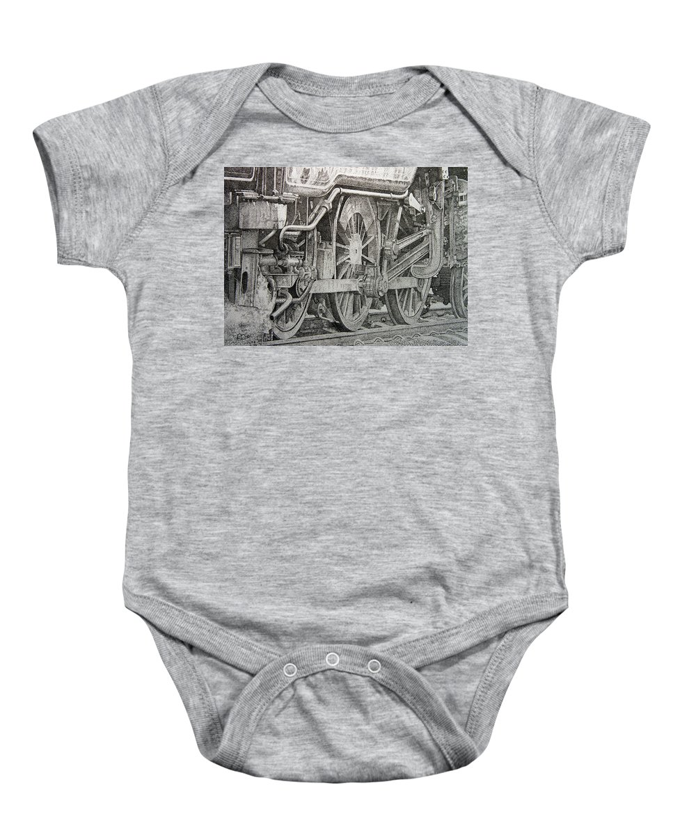 Steam Baby Onesie featuring the drawing Steam Train by Raymond Ore