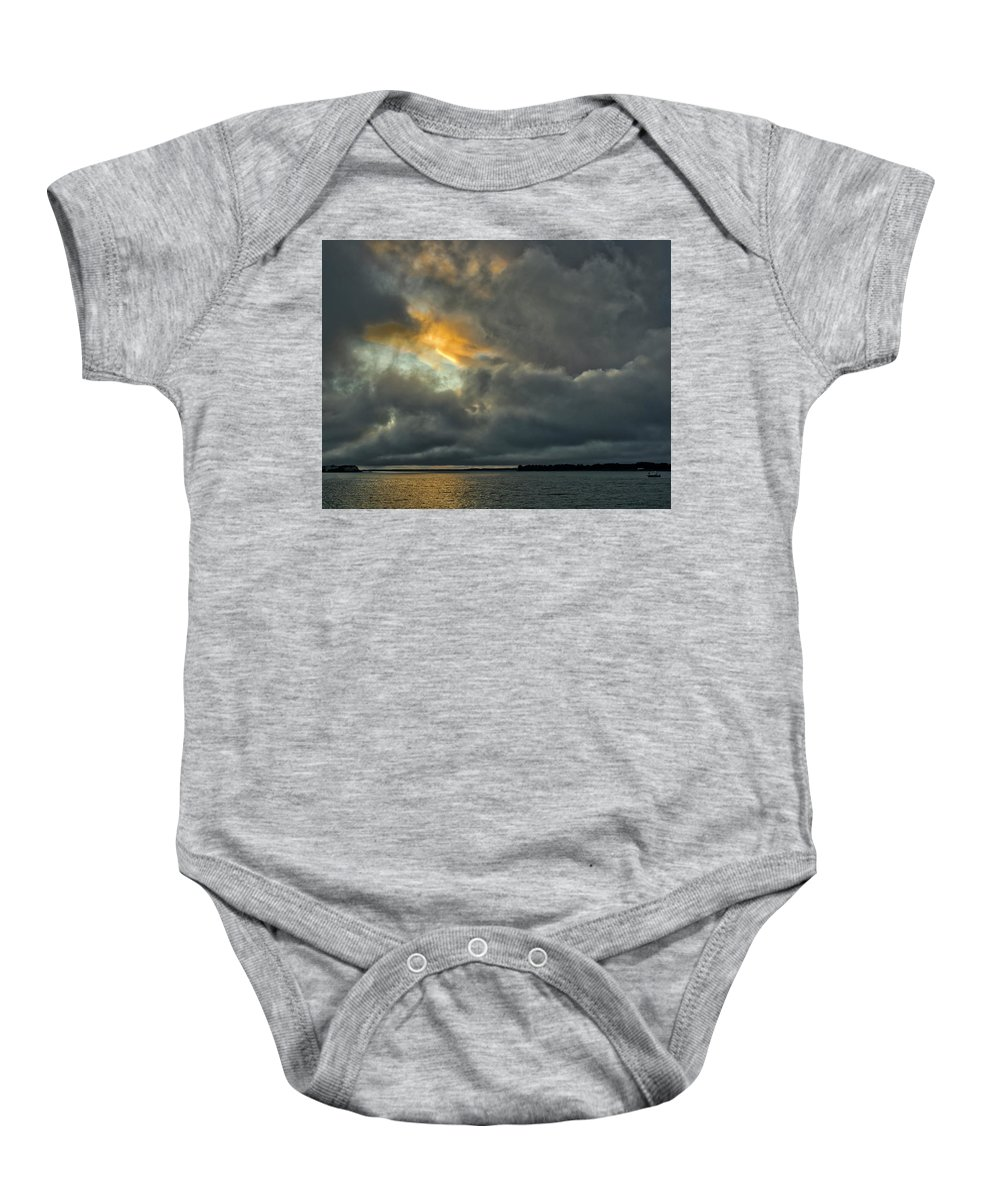 Clouds Baby Onesie featuring the photograph Storm Approaches At Sunset by David Kay