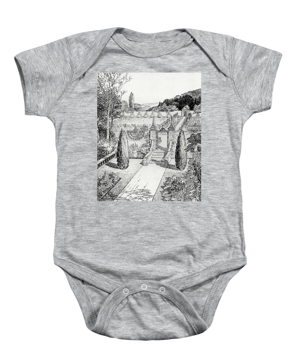 Engraving Baby Onesie featuring the drawing Terrace Walk And Herb Garden by Thomas Hayton Mawson