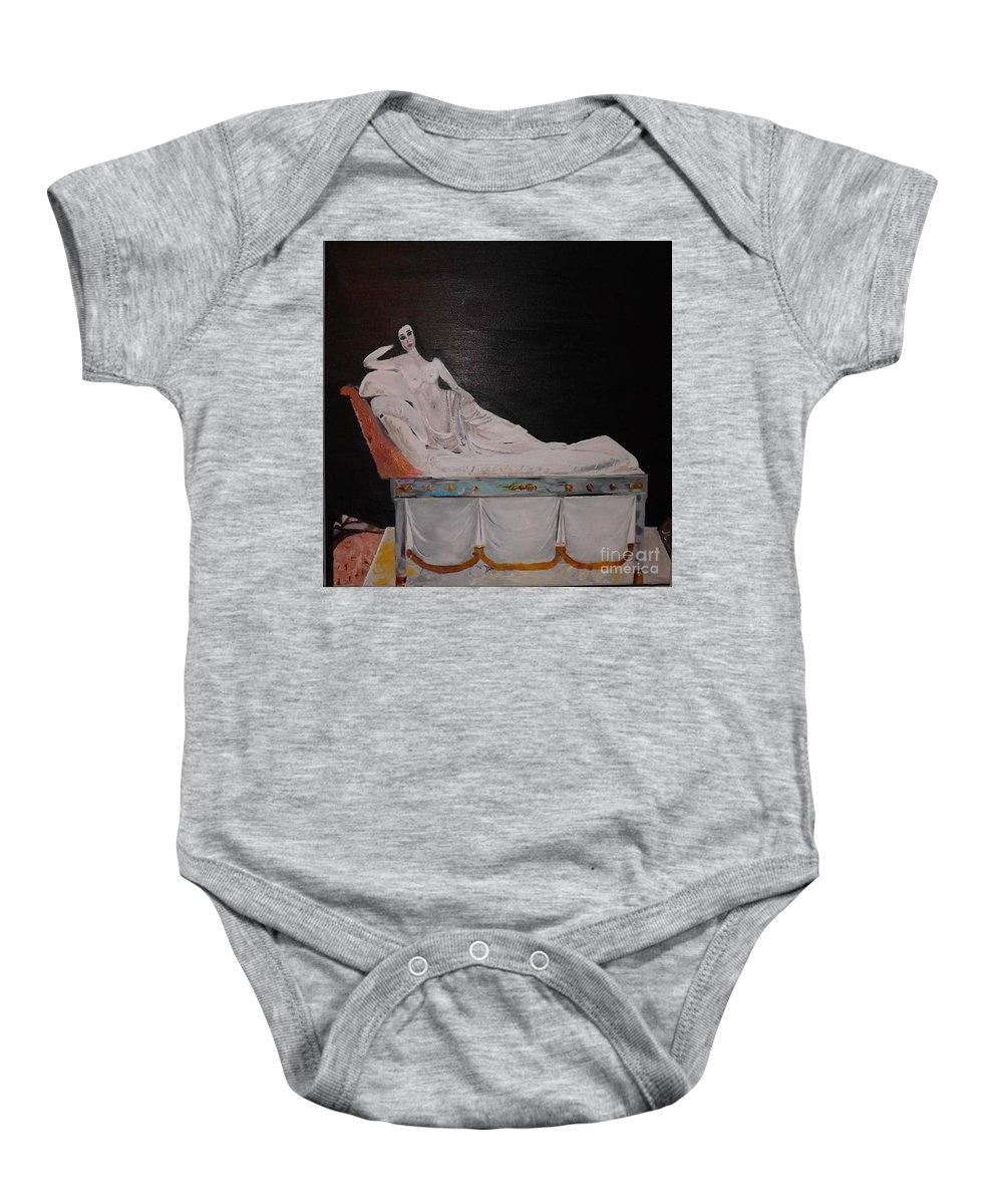 Portrait Baby Onesie featuring the painting The Artist's Muse by Denise Morgan